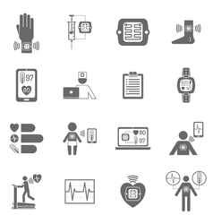 Wearable smart electronic patch flat icons vector