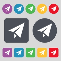 Paper airplane icon sign a set of 12 colored vector