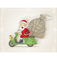 Santa claus on a scooter with gift bag cart vector