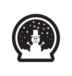 Flat icon in black and white christmas glass ball vector