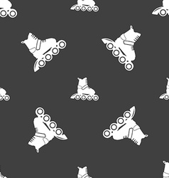 Roller skate icon sign seamless pattern on a gray vector