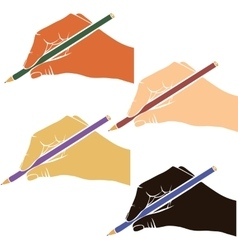 Writing hands with pencils vector