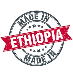 Made in ethiopia red round vintage stamp vector