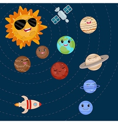 Cartoon smiling planets and sun vector