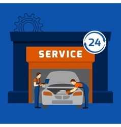 Auto mechanic service center flat banner vector