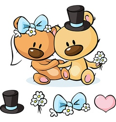 Bears in wedding dress sitting isolated on white - vector image