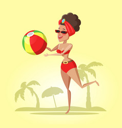 Beautiful young woman with ball on the beach vector