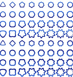 Blue curved polygon shape icon collection vector