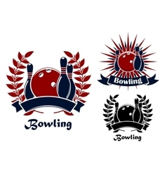 Bowling retro emblems with balls and ninepins vector image
