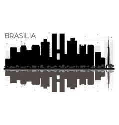 brasilia brazil city skyline black and white vector image vector image