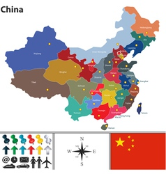 China map with color regions vector