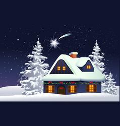 Christmas snowy house vector image