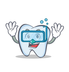 Diving tooth character cartoon style vector