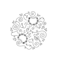 doodle tambourine coloring page vector image vector image