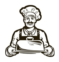 Drawing of a chef with hat and hot plate tray vector