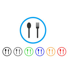 fork and spoon rounded icon vector image vector image