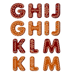 Gingerbread alphabet letters from G to M vector image vector image