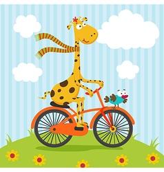 Giraffe bird riding on bicycle vector
