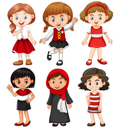 girls in red and black costumes vector image vector image