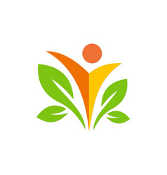happy man ecology green leaf logo vector image