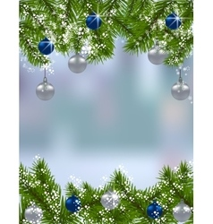 Holiday card Green fir branches with silver and vector image vector image