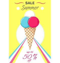 hot summer poster with ice cream banner vector image