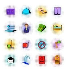 Hotel comics icons set vector