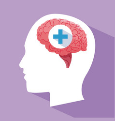 Human head brain medical care vector