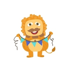 Lion-like Friendly Monster With Garland vector image vector image