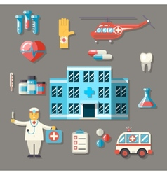 Medical hospital ambulance healthcare doctor flat vector