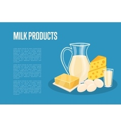 Milk products banner with dairy composition vector