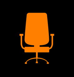 Office chair sign orange icon on black background vector