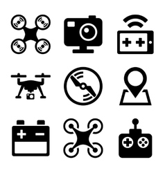 Quadcopter and Drone Icons Set on white background vector image vector image