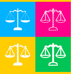 Scales balance sign four styles of icon on four vector