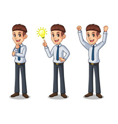 set of businessman in shirt getting ideas gesture vector image