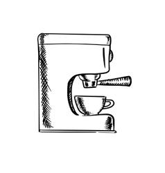 Sketch of an espresso coffee machine vector image