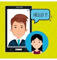 Smartphone man speak friend vector