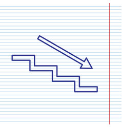 Stair down with arrow navy line icon on vector