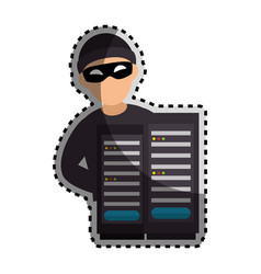 Sticker color silhouette with hacker and tower vector