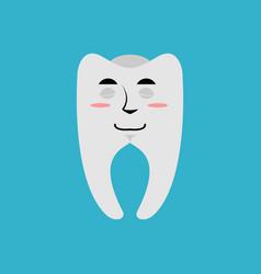tooth sleeping emoji teeth asleep emotion isolated vector image