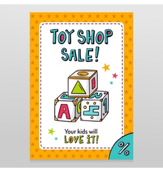 Toy shop sale flyer design with toy blocks for vector