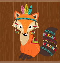 Tribal fox on wooden background vector