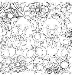 two cute teddy bears linear black and white art vector image vector image