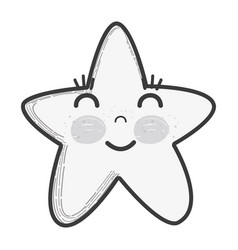 White kawaii happy star with close eyes and cheeks vector