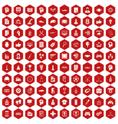 100 strategy icons hexagon red vector