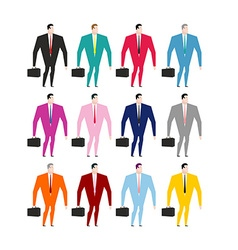 Set businessman in colorful costumes Man in pink vector image