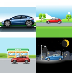 Digital red and blue auto car icon set vector
