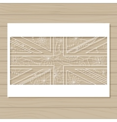 Stencil template of uk flag on wooden background vector