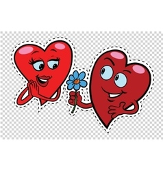 Male character gives a woman flowers red hearts vector