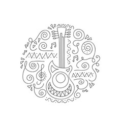 doodle guitar coloring page vector image